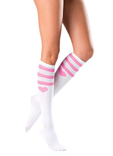 Costume Adventure Sexy White Knee High Stockings Pink Heart Sports Socks