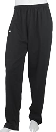 Russell Athletic Men's Cotton Performance Open Bottom Pant, Black, Medium
