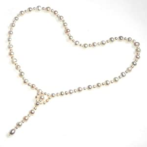 Hydia Single Strand Freshwater White Pearl Necklace 22 Inch with Gift Pouch
