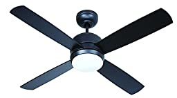 Craftmade MN44FB4 Montreal Ceiling Fan with Flat Black Blades and Matte Opal Glass, 44\