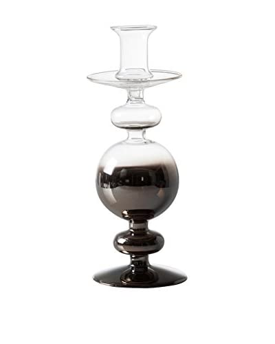 Torre & Tagus Smoke Glass Bulb Candle Stick, Silver