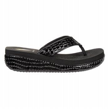 Volatile Women'S Mini Croco Wedge Thong,Black,9 M Us front-637264