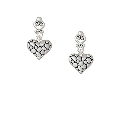 Pebble Heart Filigree Heart Earrings
