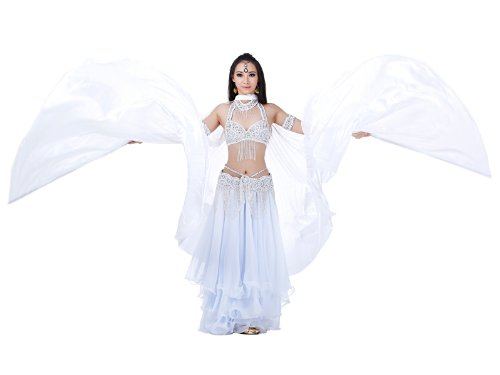 Happy Dance White Simulated Silk Belly Dance Wings Best Gift