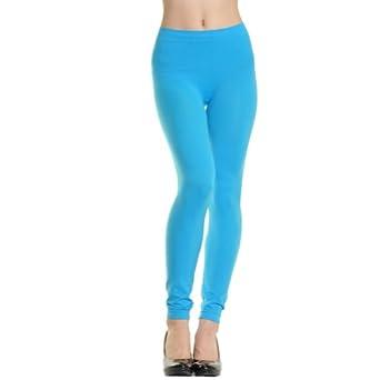 Angelina Full-Length Seamless Leggings, Aqua Blue