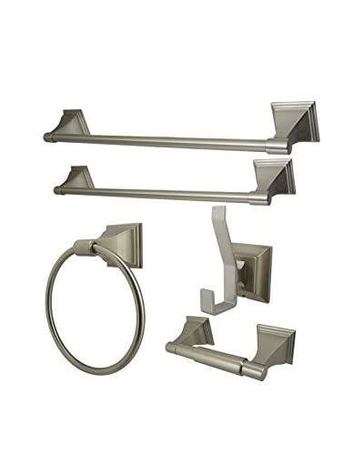 Kingston Brass Towel Bar, Ring, Robe Hook & Toilet Paper Holder, Satin Nickel