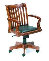 Classic Wood Banker's Chair With Leather Seat Pad
