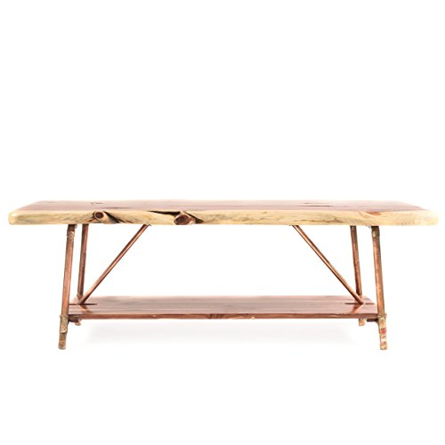 "Niangua Furniture Live Edge Rustic Coffee Table - Cedar Wood - Metal Copper Pipe Legs - 48"" x 23"""