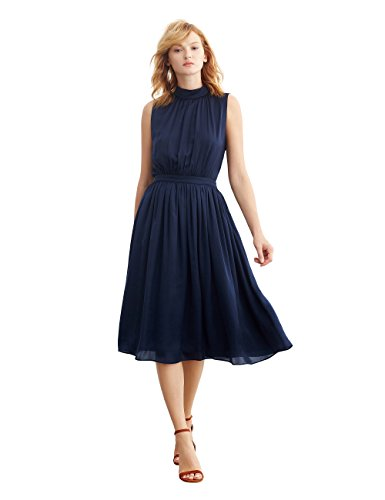 Simple Retro Women's 1950s Mock Neck Chiffon Pleated Sleeveless Vintage A-line Dress (XXS, Navy Blue)