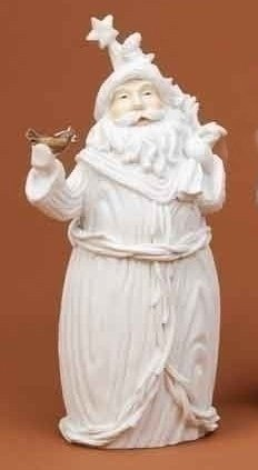 Winter's Beauty Santa Claus with Bird White Christmas Figure by Roman