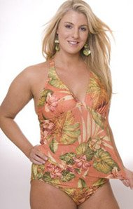 Kona Floral Two Piece Plus Size Halter Tankini Swimsuit - Women's Swimsuit Plus Size Swimsuit