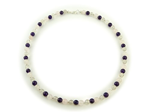 collier unikat edelstein halskette amethyst bergkristall und rosenquarz 925 silber. Black Bedroom Furniture Sets. Home Design Ideas