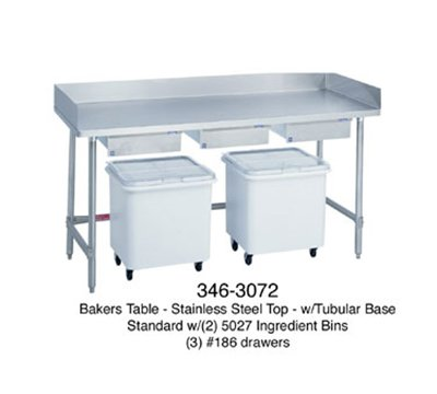 Duke 346 72-in Bakers Table w/ Splash At Rear & Both Sides, Open Base, 3-Drawers, Each (Bakers Table compare prices)