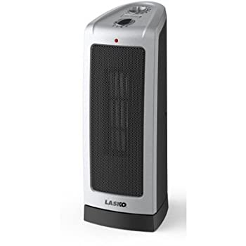 The Lasko #5307 oscillating ceramic tower heater with adjustable thermostat is self-regulating for enhanced safety. Provides maximum heat at 1500-watt. Ideal for tabletop or floor use. Features built-in carry handle. Safe ceramic element, overheat pr...