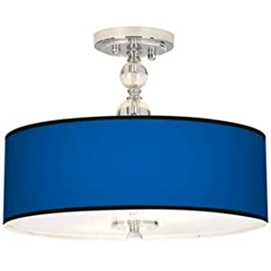 all blue drum shade semi flush ceiling light. Black Bedroom Furniture Sets. Home Design Ideas