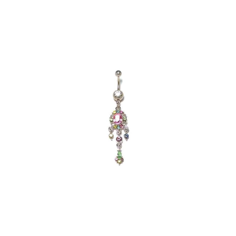 Stainless Steel Belly Ring with Multi CZ   Dangle Jewelry