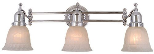 Vaxcel USA VL28963CH Swing Arm 3 Light Bathroom Vanity Lighting Fixture in Chrome, Glass