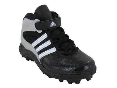 Adidas Kids ADIDAS PAYDIRT 3 TD J FOOTBALL CLEATS 4.5 (BLACK/WHITE RUNNING/MET SILVER)