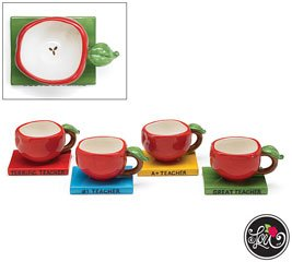 Set Of 4 Apple Shape Teacher Teacups And Saucers Each with A Different Inscription And Color