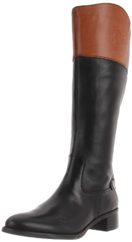 Etienne Aigner Women's Chip Wide Riding Boot,Black/Brown Combo,6 M US