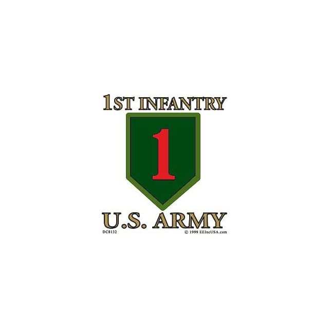 US Military Armed Forces Window Sticker Decal   Army  USN Navy  USMC Marine Corps  USAF Air Force  USCG Coast Guard   1st Infantry Division Logo