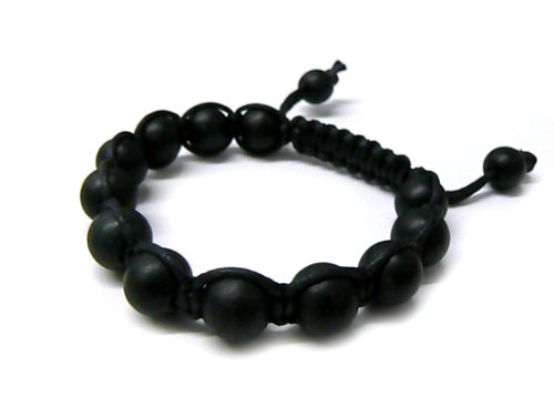 Black 12mm Macrame Shamballa Beaded Bracelet