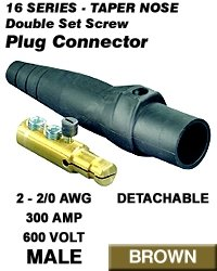 Leviton 16D22-H Single Pole Cam Type Plug Detachable Male Double Set Screw Complete 16 Series Taper Nose 2-2/0 Awg 300 Amp - Brown (Pkg Of 3)