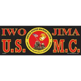 US Military Armed Forces Bumper Sticker - USMC Marines - Iwo Jima US Marines Eagle & Anchor Logo