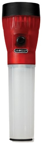 Life Gear 4 In 1 Glow Led Flashlight With Storage, White/Red