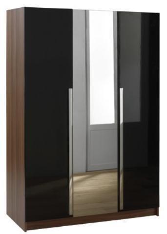 Las Vegas High Gloss 3 Door Mirrored Wardrobe-Black & Walnut