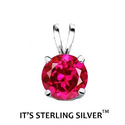 925 Sterling Silver Solitaire 1.50 Carat Ruby Cubic Zirconia Pendant. (Basket Setting) 1.50 carat 7 mm Round Top Quality Cubic Zirconia