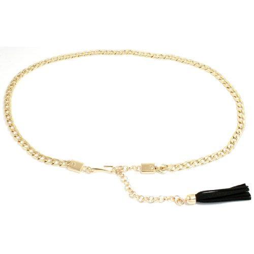 Gold Tone Metal Chain Style Adjustable Waist Belt for Lady