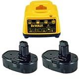 DEWALT DE9098-2 18V 1.3Ah NiCd Batteries + DE9116 Charger