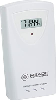 Meade TS33C-M Temperature and Humidity Sensor with LCD, White by Meade