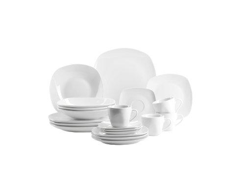Domestic Mäser Cosmo Service à vaisselle 20 pièces pour le quotidien avec 4 tasses à café/4 soucoupes/4 assiettes à dessert/4 assiettes plates/4