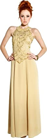 Mother Of The Bride Sleeveless Formal Wedding Gown MOB Dress, 3X, Gold