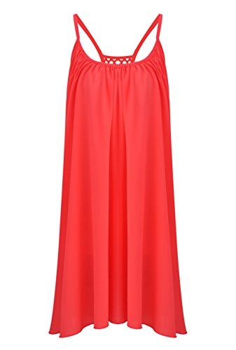 FUNOC® Women's Summer Casual Sleeveless Evening Party Beach Dress Short Mini Dress, Medium, Orange