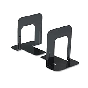 Economy Bookends, Standard, 5 Inches, Heavy Gauge Steel, Black (1 Pair)