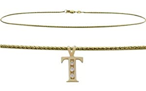 "Initial Diamond T Yellow Gold 9"" Charm Anklet"