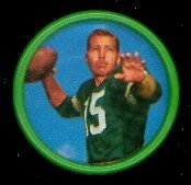 1962 Salada Tea Coins (Football) Card# 18 Bart Starr Of The Green Bay Packers Ex Condition