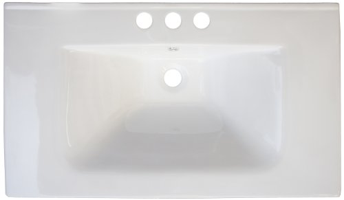 American Imaginations 428 24-Inch by 18-Inch White Ceramic Top with 8-Inch Centers