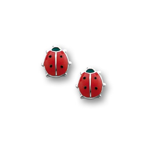Sterling Silver Children's Red and Black Ladybug Earrings