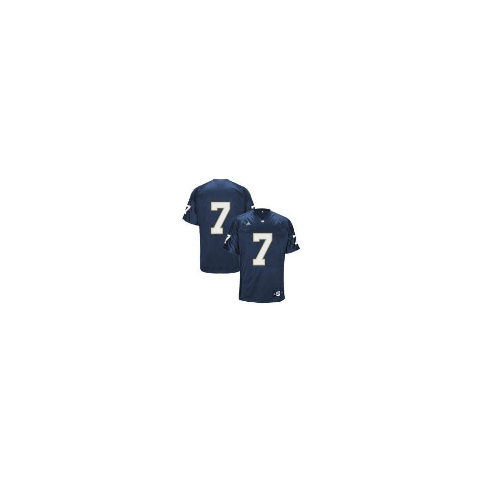 adidas Notre Dame Fighting Irish #7 Navy Blue Authentic Football Jersey
