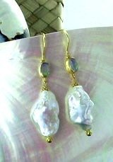 EXQUISITE 18K GOLD BAROQUE WHITE PEARL OPAL EARRINGS #2