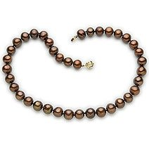 14k, 9-10mm Chocolate Brown Pearl Necklace
