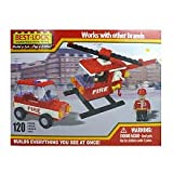 Construction Fire Helicopter and Car Building Set – 120 Pieces