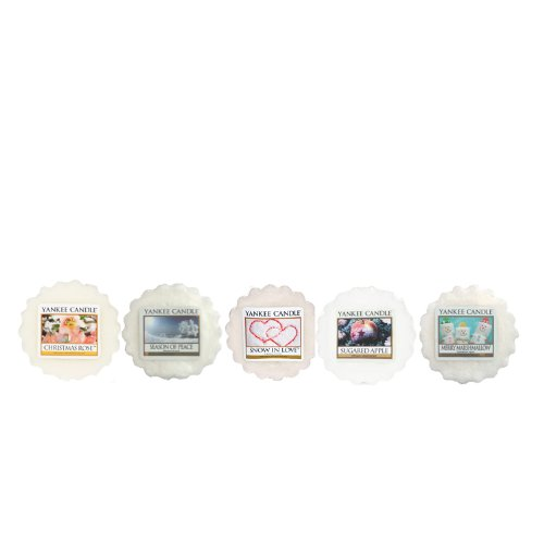 Yankee Candle - 'White Festive Mix': 5 Assorted Scented Wax Tarts (Including: 1x Snow In Love, 1x Season Of Peace, 1xChristmas Rose, 1x Merry Marshmallow, 1x Sugared Apple)