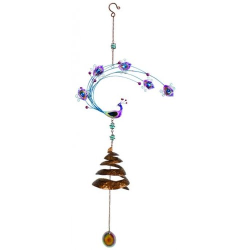 Peacock Outdoor Wind Spinner, Copper Metal with Glass Globes, 24-inch