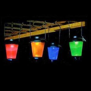 Set of 4 Solar String Coloured Garden Lantern Lights