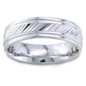 Women's 14k White Gold Engraved Comfort-Fit Wedding Band (6.50 mm)